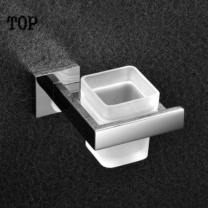 2014 Rushed Sale Solid Antique Bathroom Square Toothbrush Holder Bathroom Accessories Tumble Tooth Brush Chrome with Frosted Cup image