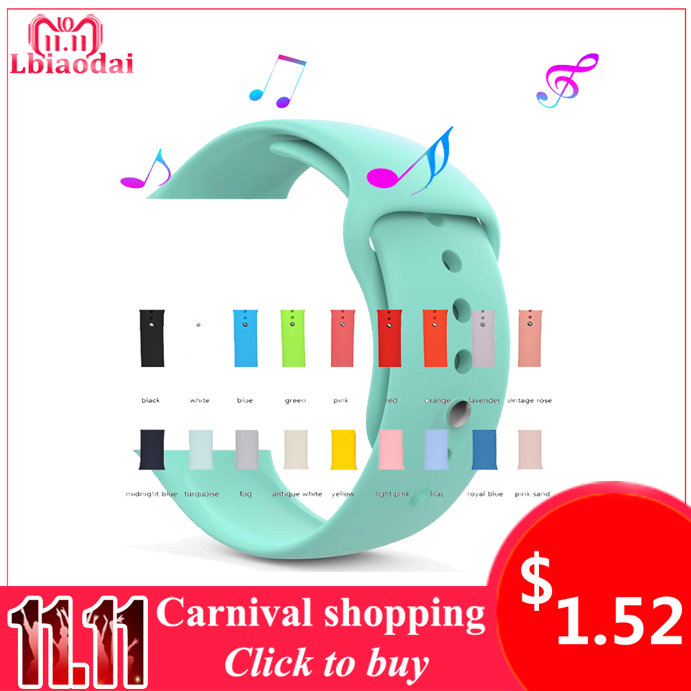 Sport Silicone For correa Apple Watch Band 42mm 38mm 40/44mm iwatch 4/3/2/1 watchbands Strap watches rubber bracelet Wrist belt цена