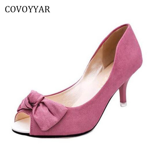 2018 Elegant Sweet Bowtie Women High Heels Female Pumps Peep Toe Solid Casual  Shoes Summer Thin e39d7d84bf3d