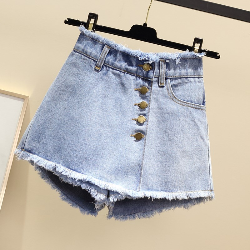 2019 Vintage Single-Breasted High-Waist Jeans Shorts Women Summer New Loose Denim Skirts Shorts