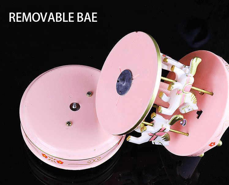 christmas Carousel music box Wood Craft Ornaments LED color light clockwork Wooden music box girlfriend birthday gift home decor