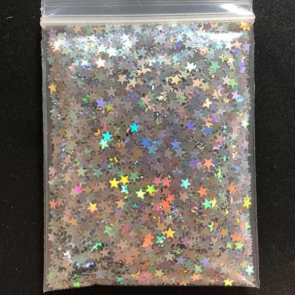 10 gr/beutel Silber Gold Holographische Glitter 3mm Micro Star/Schmetterling Form MIX Acryl Laser Glitter Für Nail art dekorationen LS2356