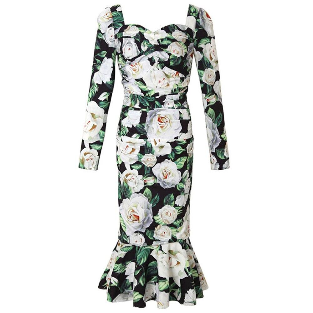 Red RoosaRosee Fashion Designer Runway Dress Women Long sleeve Floral Print Long Sleeve Draped Mermaid Dresses