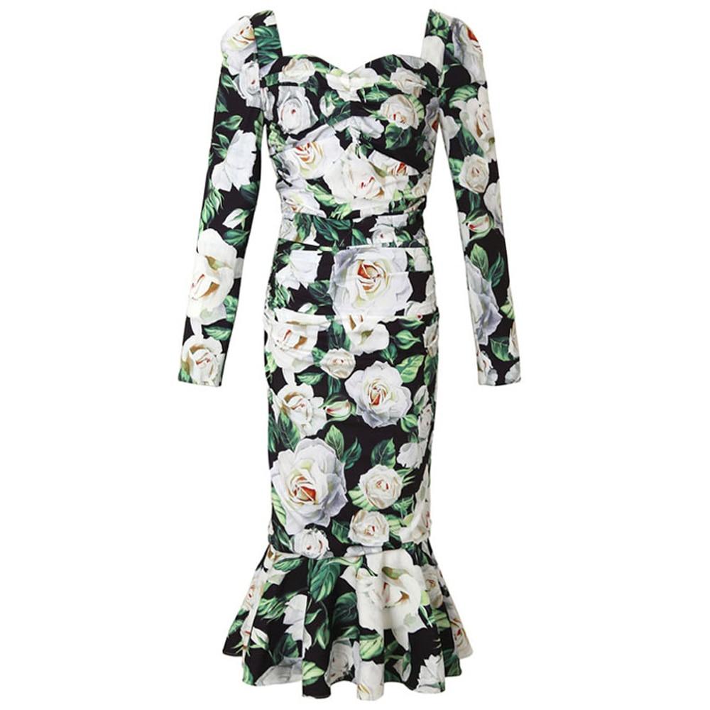 Czerwony RoosaRosee projektant mody Runway sukienka kobiety z długim rękawem kwiatowy Print z długim rękawem drapowana Mermaid suknie jesień Vestidos w Suknie od Odzież damska na  Grupa 1