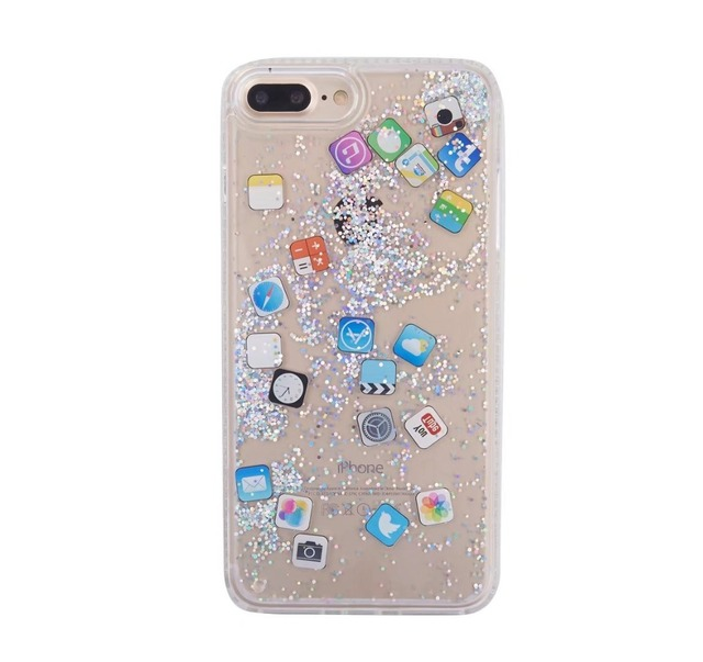 huge selection of 6480d bb4a8 US $3.06 10% OFF|IOS App Icon pattern Case For iphone X XS MAX XR Glitter  Quicksand Liquid Phone Case For iphone 6 6S 7 8 Plus Back Cover-in ...