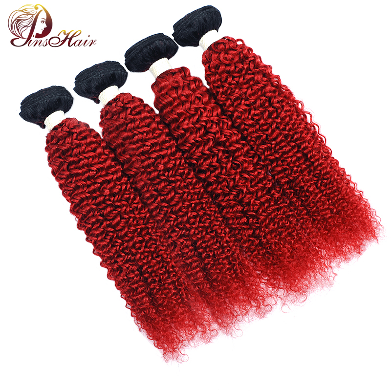 Pinshair T1B Red Ombre Brazilian Human Hair Weave Bundles Burgundy 99J Afro Kinky Curly Hair 4 Bundles Non Remy Hair Extension
