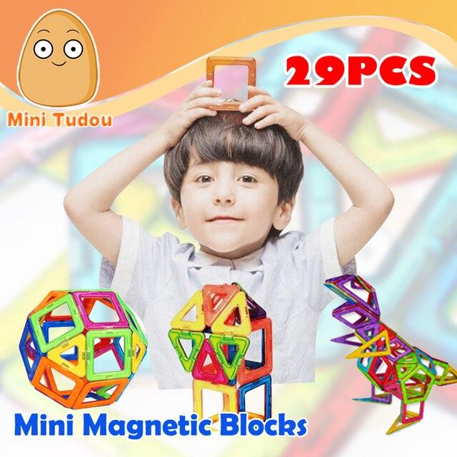 Minitudou Мини Магнитный Конструктор Набор 29 ШТ. 3D Магнитные Строительство Игрушки Образования DIY Кирпичи Игрушки Для Детей