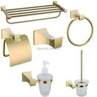 2016 Europe Luxury Bathroom Hardware Set Space Classic Glass Gold Finish Brass Bath Accessories For Bathroom