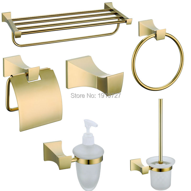 Online get cheap gold bath accessories for Gold bathroom accessories