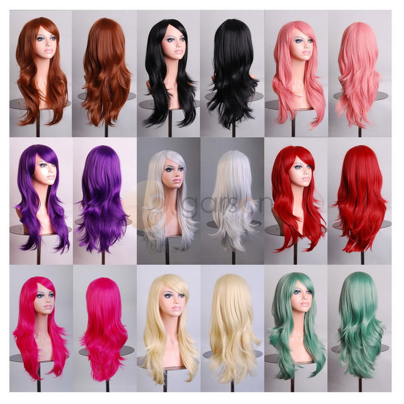 55cm Long Loose Wave Synthetic Wigs For Women Anime Cosplay Wig Red Blonde Green Black Blue Pink Grey Purple Hair For Party