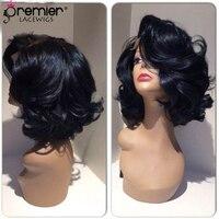 PREMIER Синтетические волосы на кружеве парик гламур Голливуда написано Кудри Черный Цвет 200% толстые плотность человеческих волос (CLFW 14)