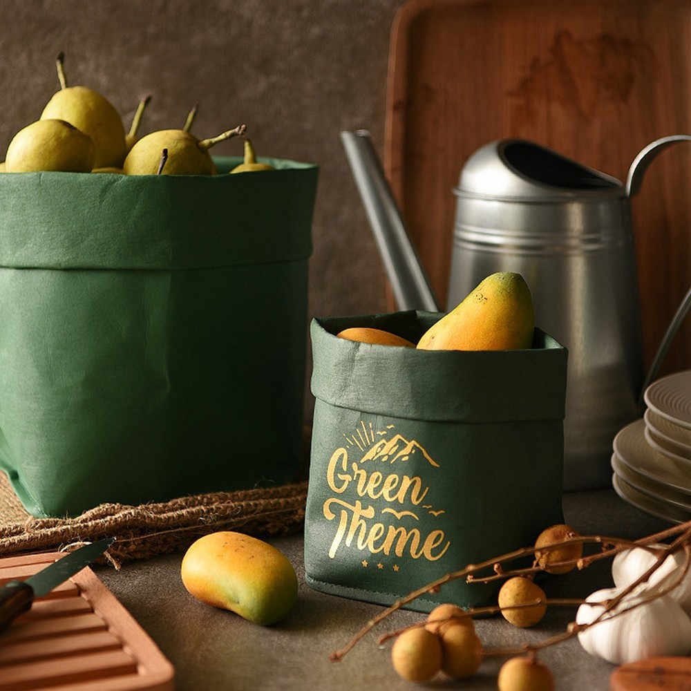 Nordic Washed Kraft Paper Storage Bag Vogue Dried Flower Pouch Vegetable Fruit Bread Bag Home Desktop Sundries Finishing Tote