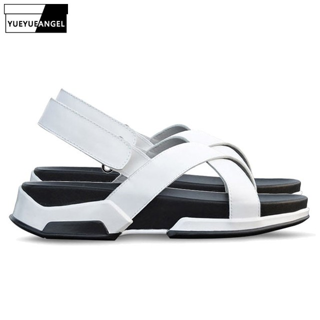 fa4c7662d7fe Italian Design New Mens Summer Leisure Straps Sandals Fashion Thick  Platform Genuine Leather Beach Slippers Casual Shoes Male