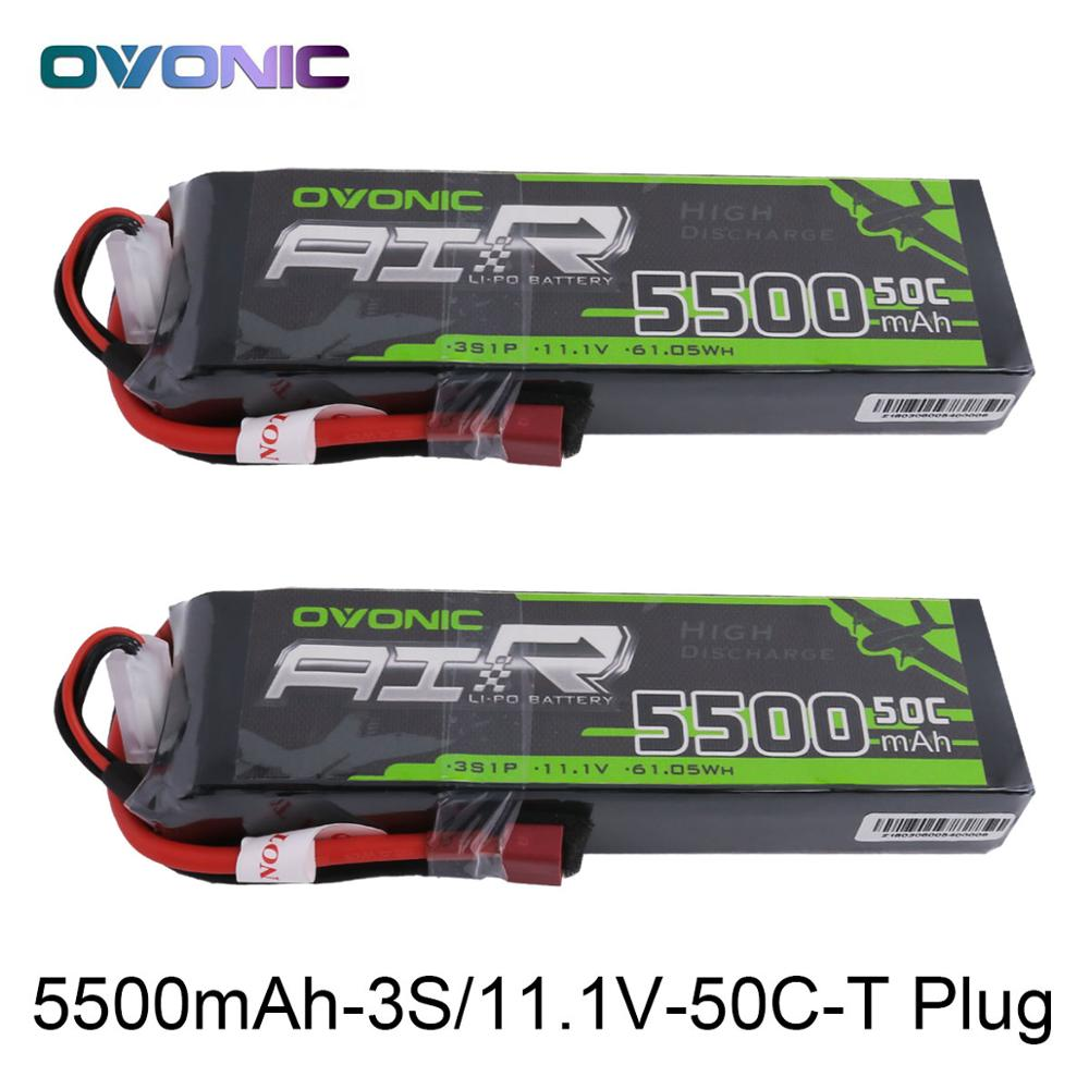 2X Ovonic LiPo Battery 5500mAh 11.1V LiPo 3S 50C-100C Battery Pack T Connector XT60 Plug for RC Car Helicopter Quadapter Drone 7 4v 500mah 50c lipo battery