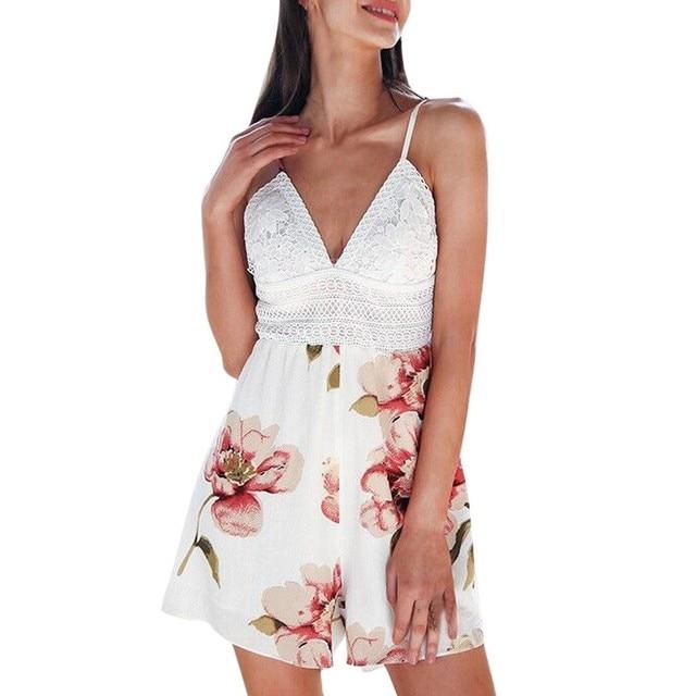 a69b5065d4 2018 Summer Floral Printed Women Short Playsuits Deep V-neck bandage Wide  Legs Female Bodysuits Sexy Boho Beach Shorts hot