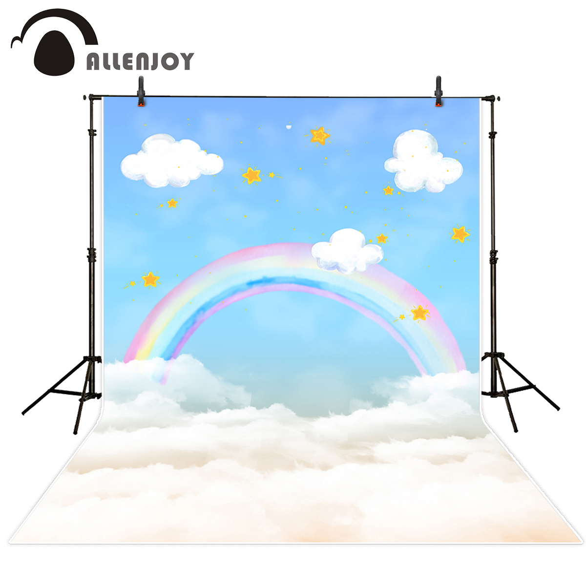 Allenjoy Vinyl photography The sky Stars Gold Rainbow cloud photography backdrop personal custom Partner name backdrop тарифные планы