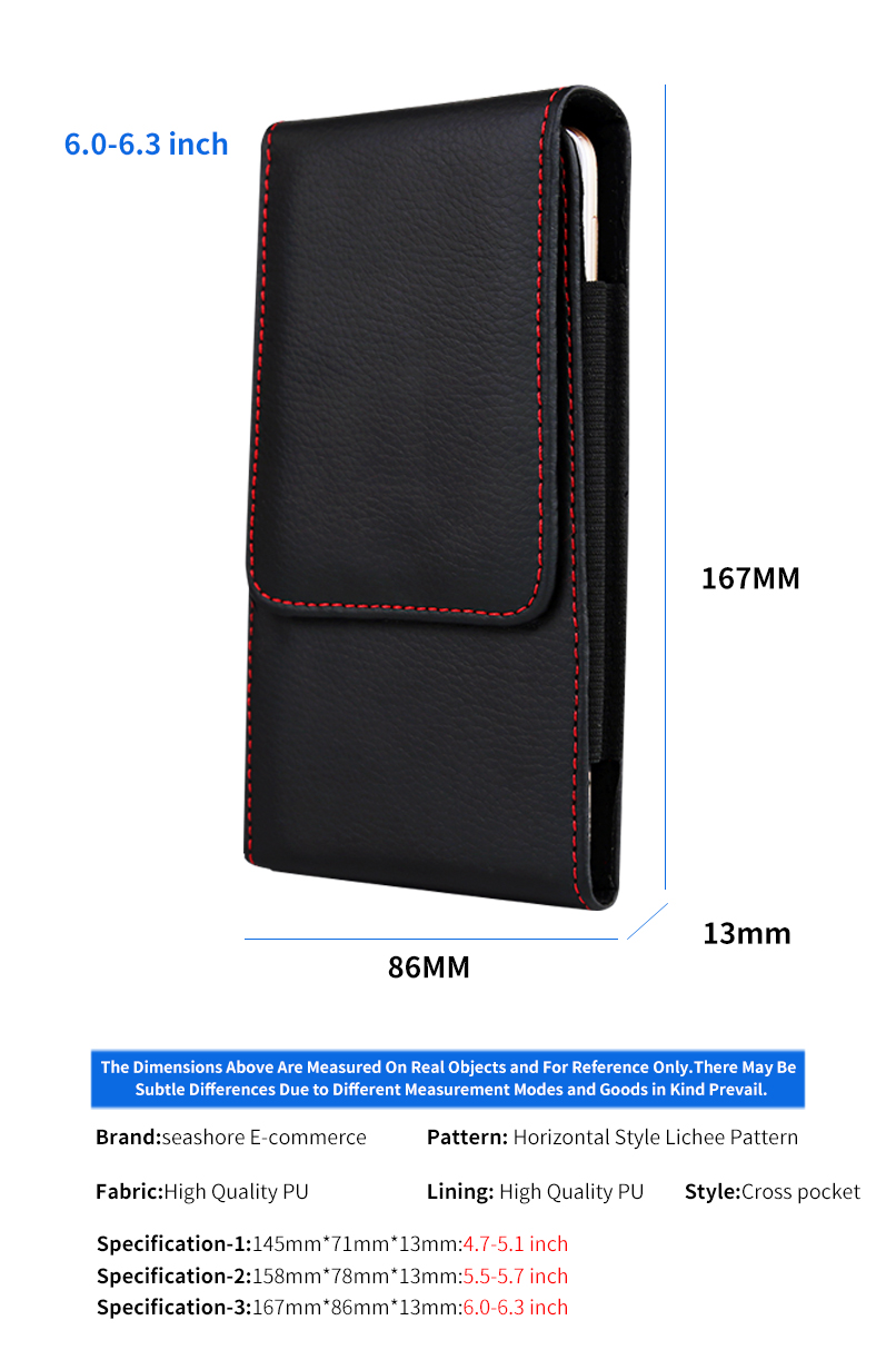 Casual Leather Phone Case With Holster Bag Belt For All Mobile Phones 9