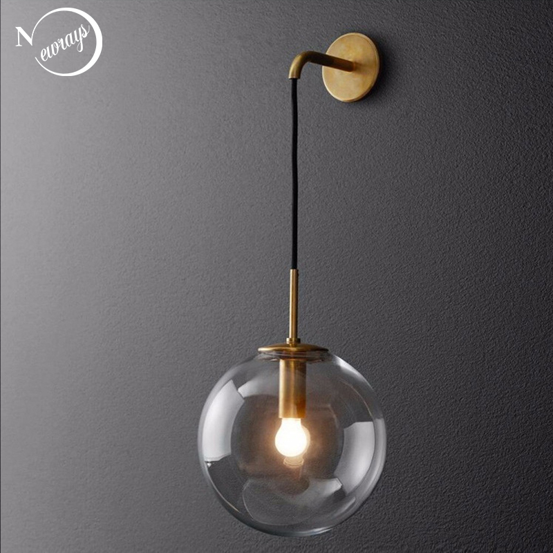 Nordic modern round glass wall lamp E14 adjustable lamp for bedroom bedside study aisle hotel room