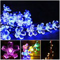 RGB Warm Cold White String Xmas Light 50 Leds 6.7M  Diwali Lamp Peach Flower Outdoor Guirlande Waterproof Strip Solar Luminarias