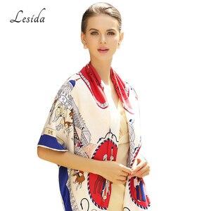 Image 4 - 2020 Vintage Square Silk Printed Bandanas for Women Luxury Brand Pashmina Scarf Shawl Twill Silk Bandana Wholesale 130*130cm