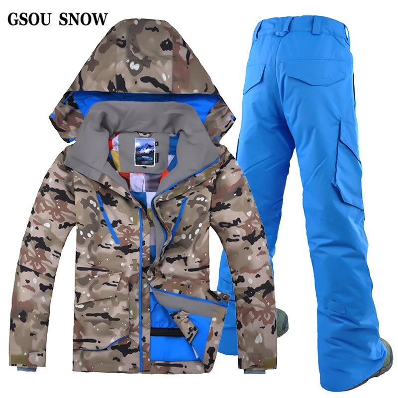 GSOU зимняя уличная спортивная камуфляжная лыжная куртка на молнии Ветрозащитный Дышащий Лыжный костюм мужской двойной одноместный лыжный к...