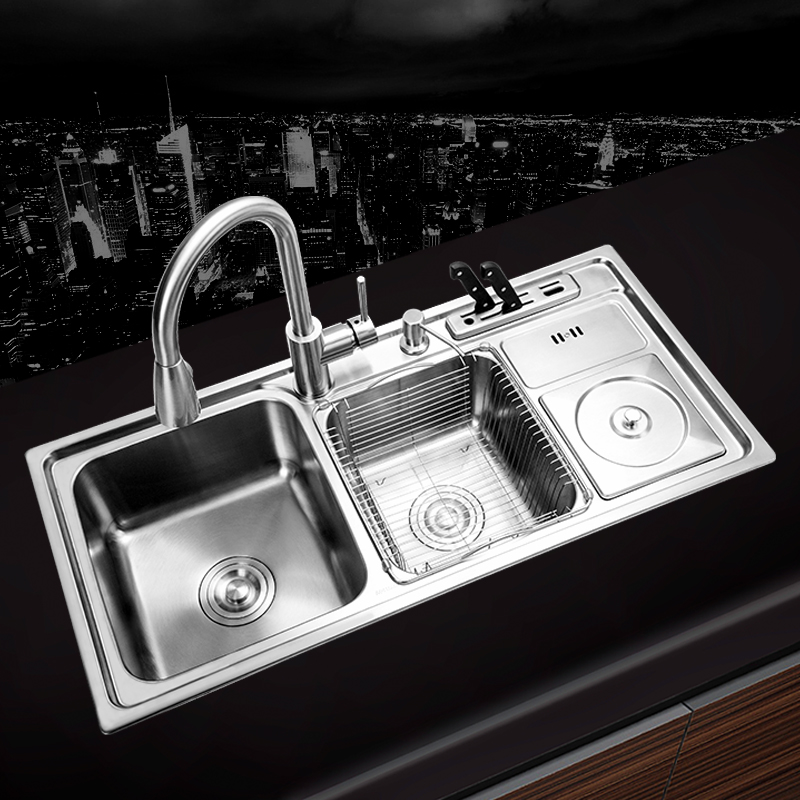 (910*430*210mm) Stainless Steel Undermount Handmade Brushed Seamless Welding Kitchen Sink Set With Drawing Drainer Dispenser