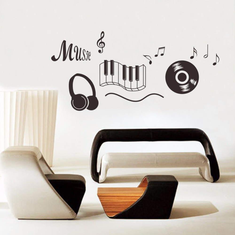 Music Note Headphone Notel wall sticker for office room bedroom home decor decoration art Wall Decal Art Poster Mural