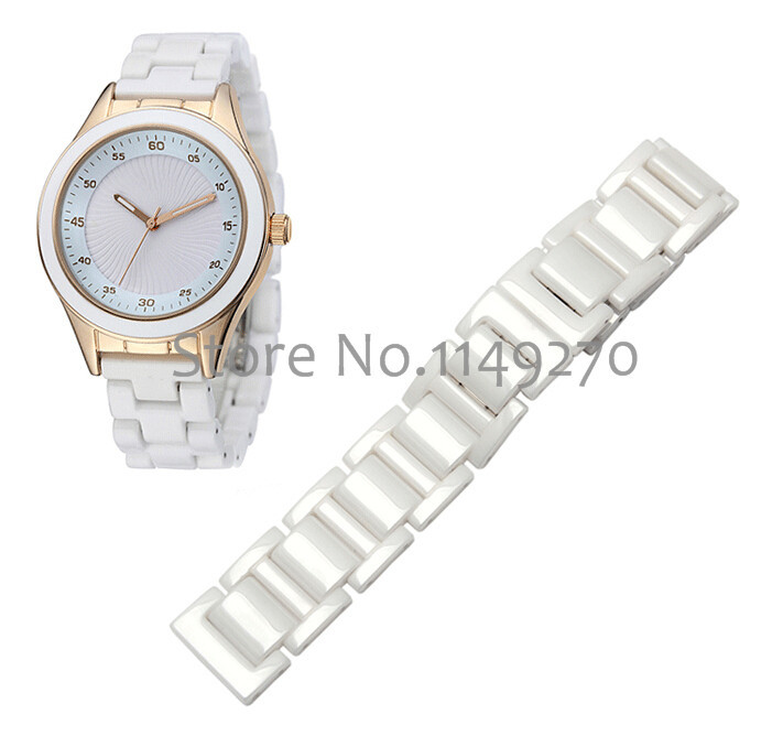 watches accessories ceramic white watchband diamond watch 14mm 16mm 18mm 20mm  for women Waterproof fashion bracelets gold watchband for luxury watches brand stylish watches accessories 18mm 20mm 22mm fashion thiner bracelets promotion price new