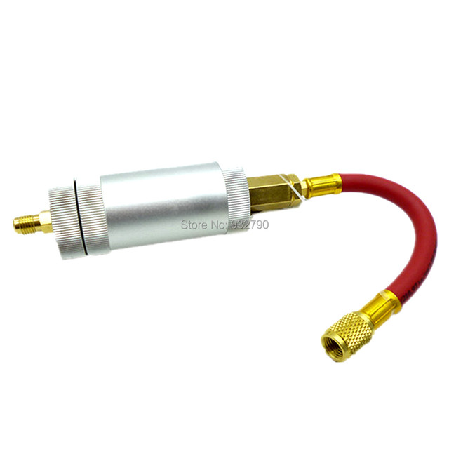 US $16 53 15% OFF|A/C R134a R12 R22 Oil Dye Injector 134a 2 Oz Injection  Tool AC Oil Filling Tube Hose 1/4