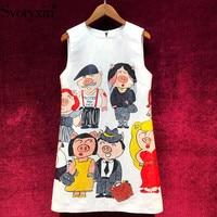 Svoryxiu Fashion Runway Summer Cartoon Piggy Print Tank Dress Women's Summer Holiday Party White Jacquard A Line Mini Dresses