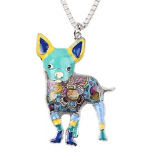 Bonsny Maxi Statement Metal Alloy Chihuahuas Dog Choker Necklace Chain