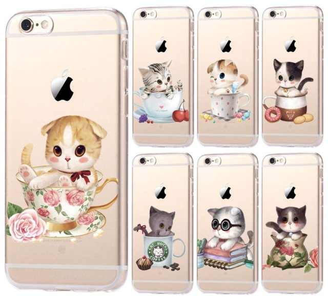 Adorable Kittens in Tea Kups – Soft Silicone iPhone: 5, 5C, 5S, 5S, 6, 6S, 7