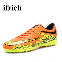 Ifrich Mens Soccer Cleats Cheap Indoor Football Shoes Men Leather Football Training Sneakers Blue Orange Mens