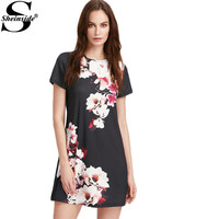 Sheinside Ladies Summer Mini Dresses Work Wear Office Multicolor Floral Print Round Neck Short Sleeve Straight Dress