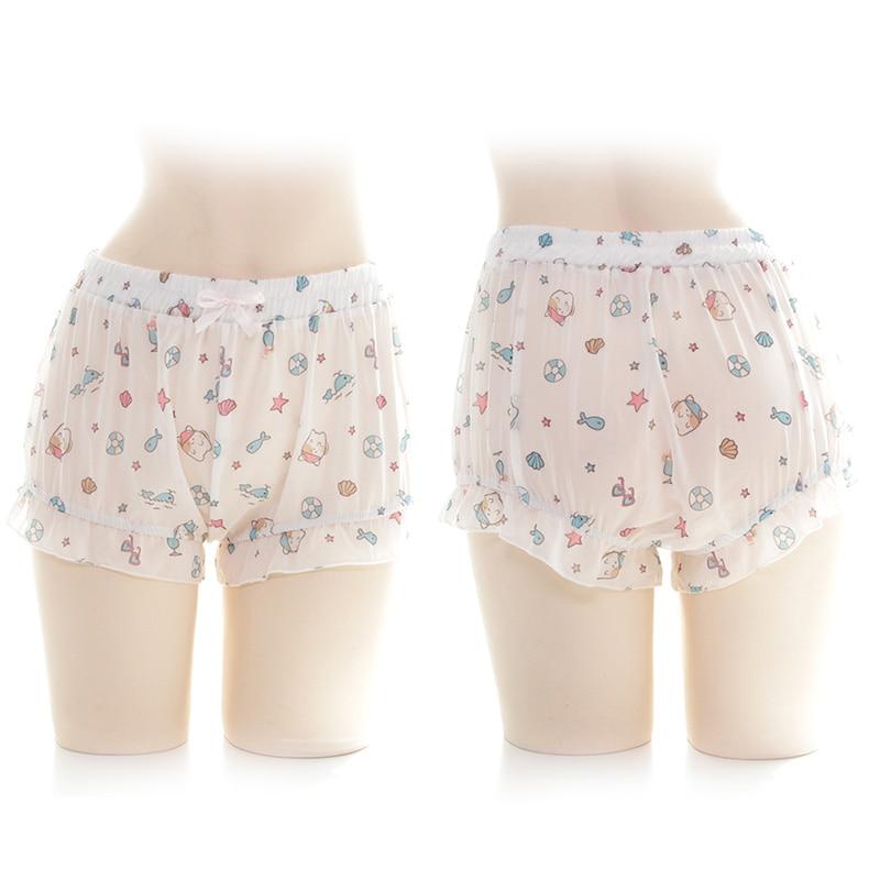 SO Kawaii Pumpkin Shorts Cute Lolita Girl Cartoon Cat Fish Print Ruffle ShortS Cosplay Women's Chiffon Bloomers Scanties Summer