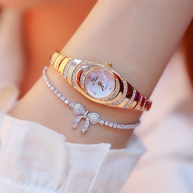 العلامة التجارية الصغيرة وأنيقة السيدات ساعة مزدوجة صغيرة المرأة سوار ساعة ساحرة مضيئة فتاة الموضة ساعة عادية Zegarek Damski