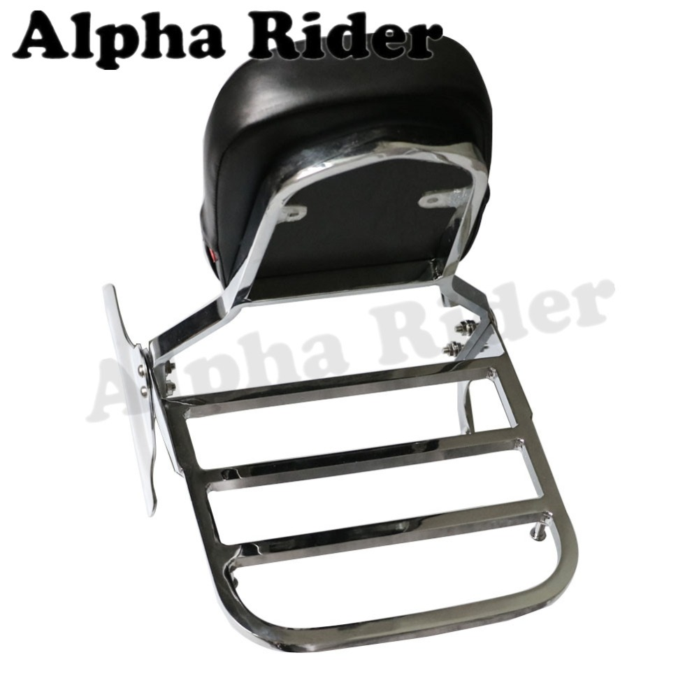 Rear Luggage Rack Support Holder Saddlebag Cargo Shelf Bracket w/ Detachable Backrest for Honda Shadow VT 400/750 98-03 02 01 00