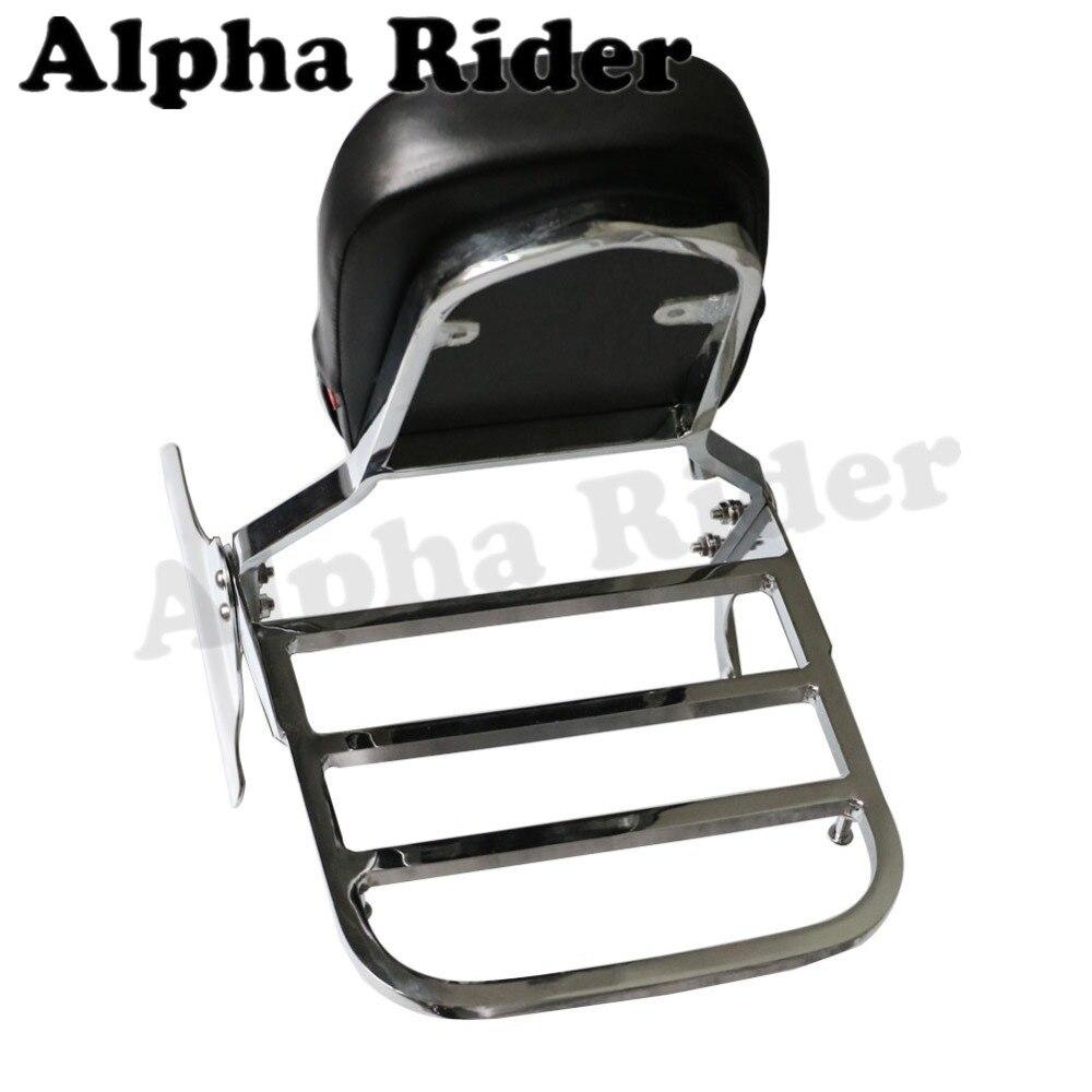 Rear luggage rack support holder saddlebag cargo shelf bracket w detachable backrest for honda shadow