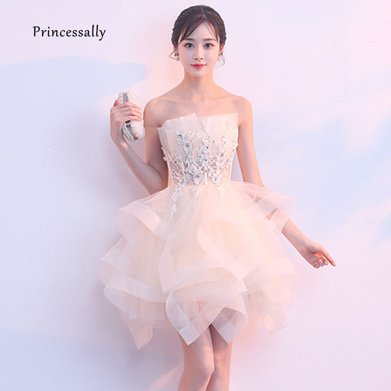 Cute Prom Dress Above Knee Strapless Ball Gown Appliques Crystals Sexy Graduation Gala Prom Party Evening Gown Robe De Mariee