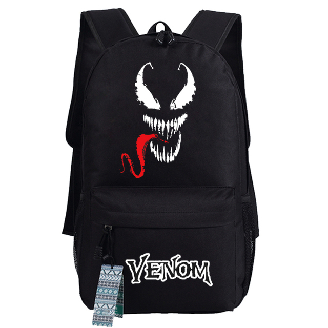 4e47f47fe33b US $26.99 10% OFF 2018 Movie Venom Red Tongue Cosplay Backpack Canvas Adult  Unisex Black Travel Student School Shoulder Bags Gift Accessory on ...