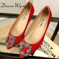 Free shipping 2016 female shining silk stain diamond buckle flats, women's sex silk stain diamond buckle party flats, 33-43