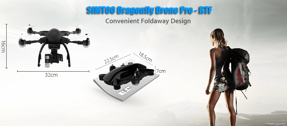 SIMTOO Dragonfly Drone Pro 16MP 4K Camera Quadcopter Foldable Following Camera Drone RTF WiFi FPV With GPS Watch