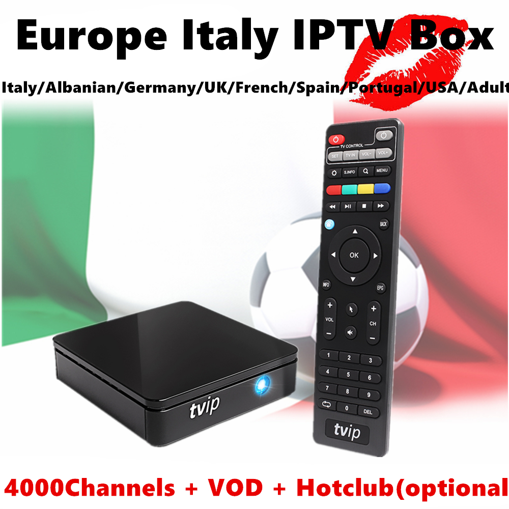Europe Italy IPTV TVIP 410 Amlogic Quad Core 4GB Flash Android 4.4/Linux Dual OS Smart TV Box Support H.265 Italian Germany UK 5pcs anewkodi mini tvip 410 412 box amlogic quad core 4gb linux android 4 4 dual os smart tv box h 265 airplay dlna 250