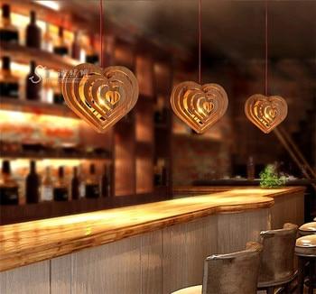 Estilo europeu de madeira pingente de madeira simples e moderno pingente de arte sala de estar de madeira pingente de coração