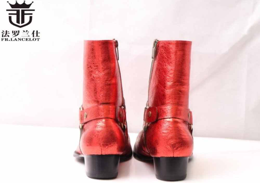 FR. LANCELOT 2019 cool homens se vestem botas homens botas de couro vermelho de lantejoulas de metal anel dos homens tornozelo botas partido sapatos de salto med botas