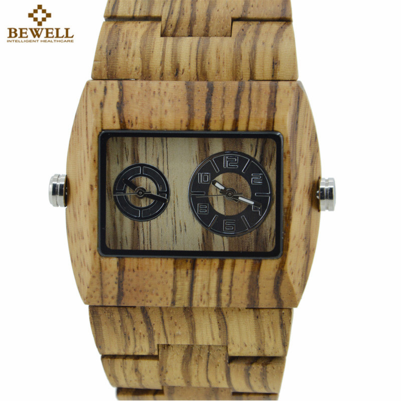BEWELL Natural Wood Watch Men Quartz Watches Dual Time Zone Wooden Wristwatch Rectangle Dial Relogio LED Digital Watch Box 021C bewell multifunctional wooden watches men dual time zone digital wristwatch led rectangle dial alarm clock with watch box 021a
