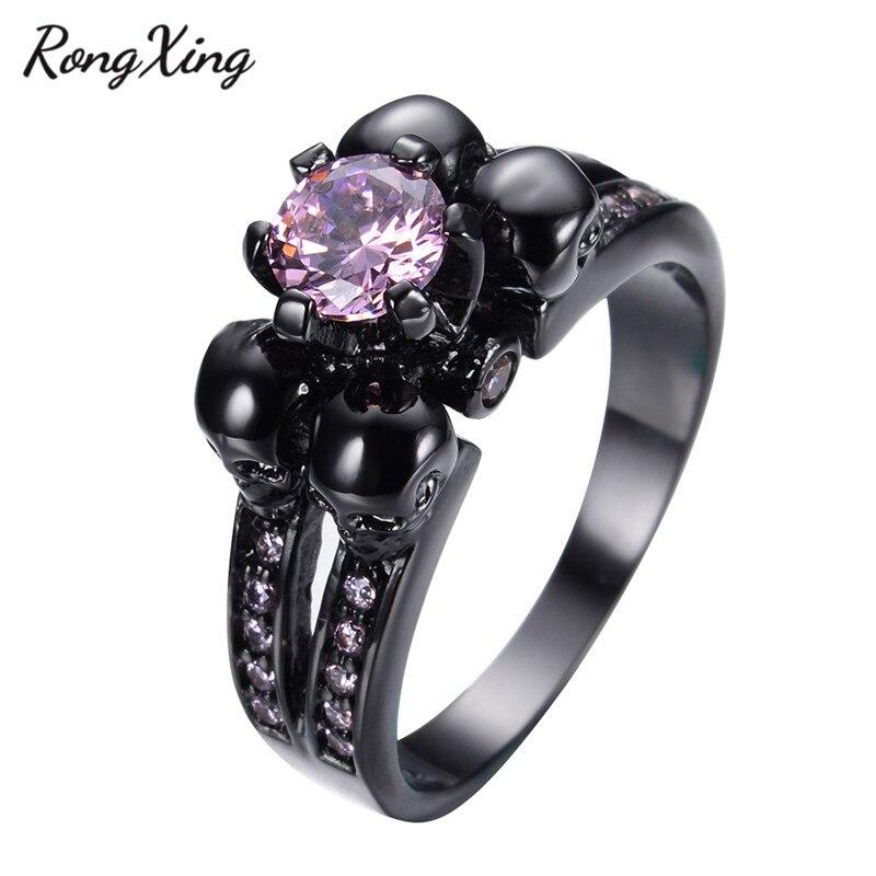 Pink Black Skull Rings: RongXing Unique Design Halloween Skull Women/Men Pink