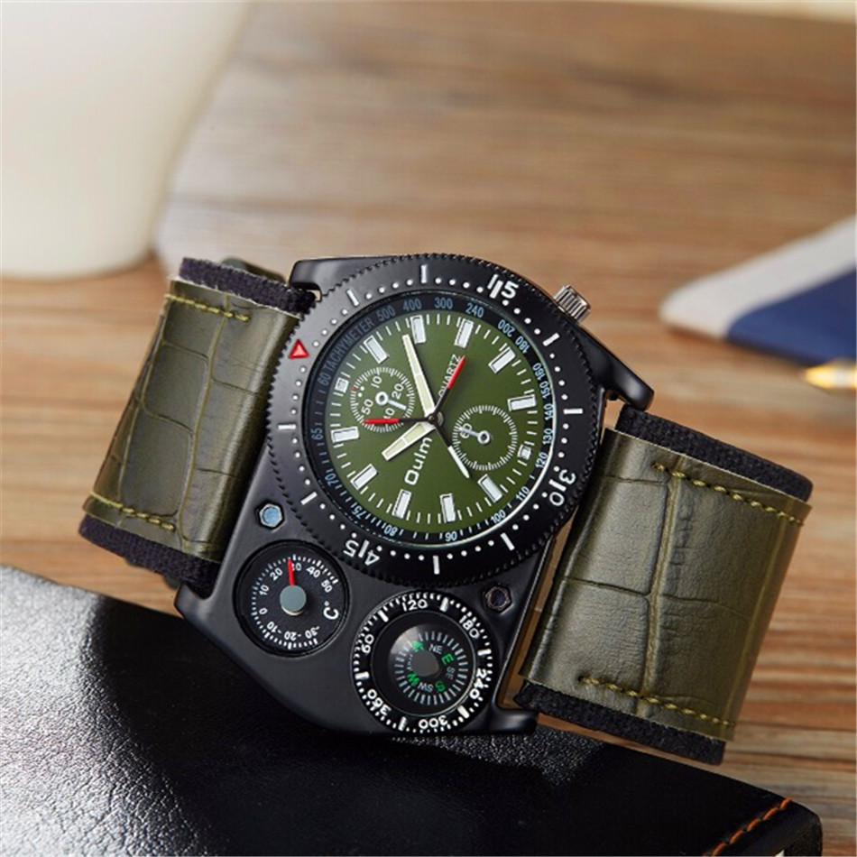 OULM 4094 Designer Mens Big Face Fashion Outdoor Watches Wide Leather Strap Casual Quartz Watch with Compass Montre Boussole top brand oulm 1349 fashion outdoor watches men 5cm big face 2 time zone compass thermometer quartz watch montre homme boussole