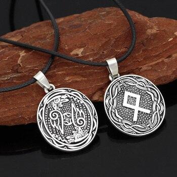 Nordic Viking Rune Amulet Circle Pendant Necklace With Valknut Gift Bag  Viking Necklace