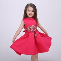 Summer Girls Dress Chinese Style Flower Embroidered Princess Dresses Baby Clothes Party Frocks Designs Boutique Girl